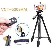YUNTENG trépied en aluminium Selfie, avec tête en aluminium 5208 RM et télécommande Bluetooth pour support de téléphone à clip