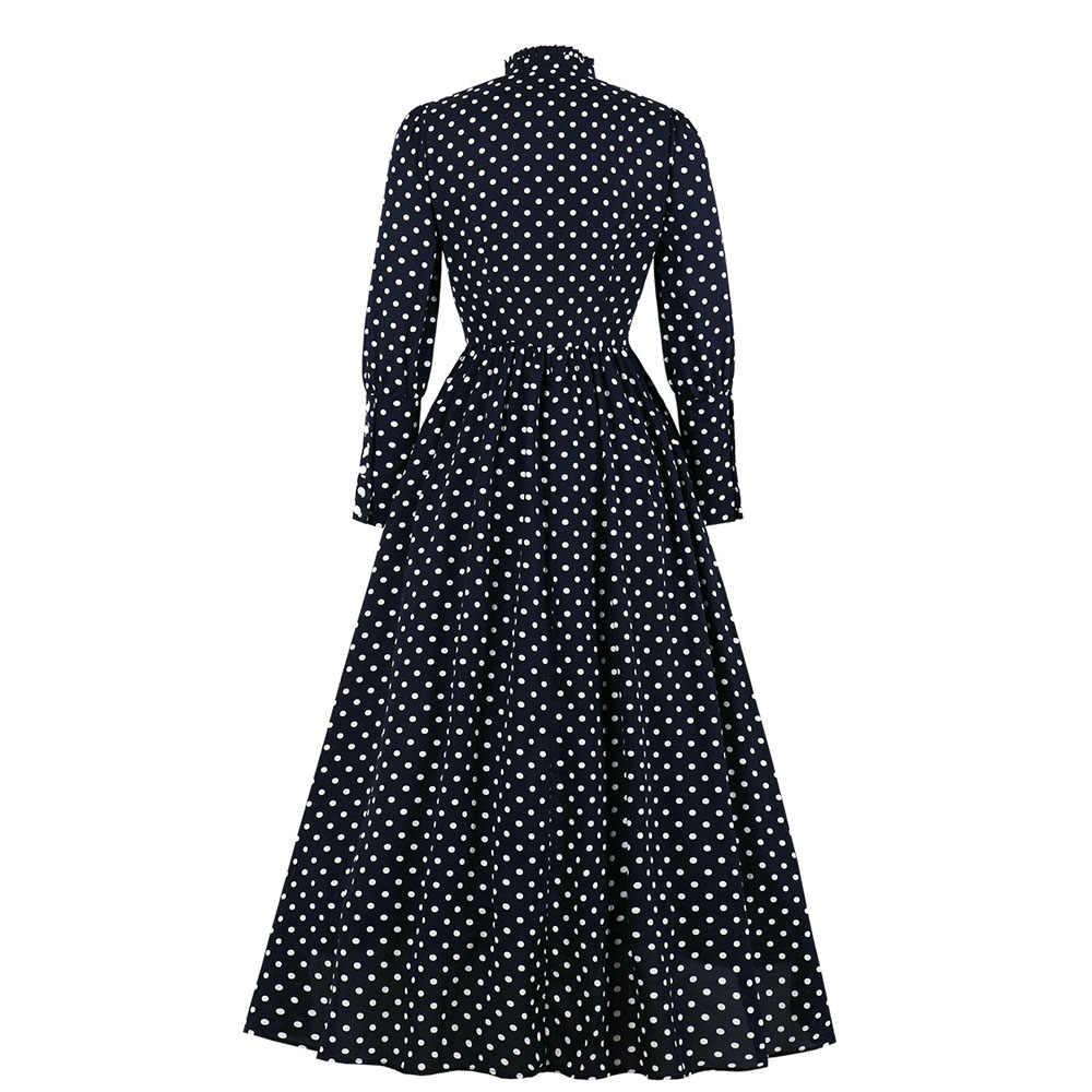 Осень 2019 г. Новые черные ретро платья в горошек трапециевидные платья до щиколотки со стоячим воротником вечернее платье с длинными рукавами во французском стиле