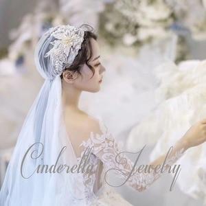 Image 2 - 120 centimetri super fata di colore di champagne del merletto cap stile velo della sposa bella filato morbido dei capelli della sposa accessori