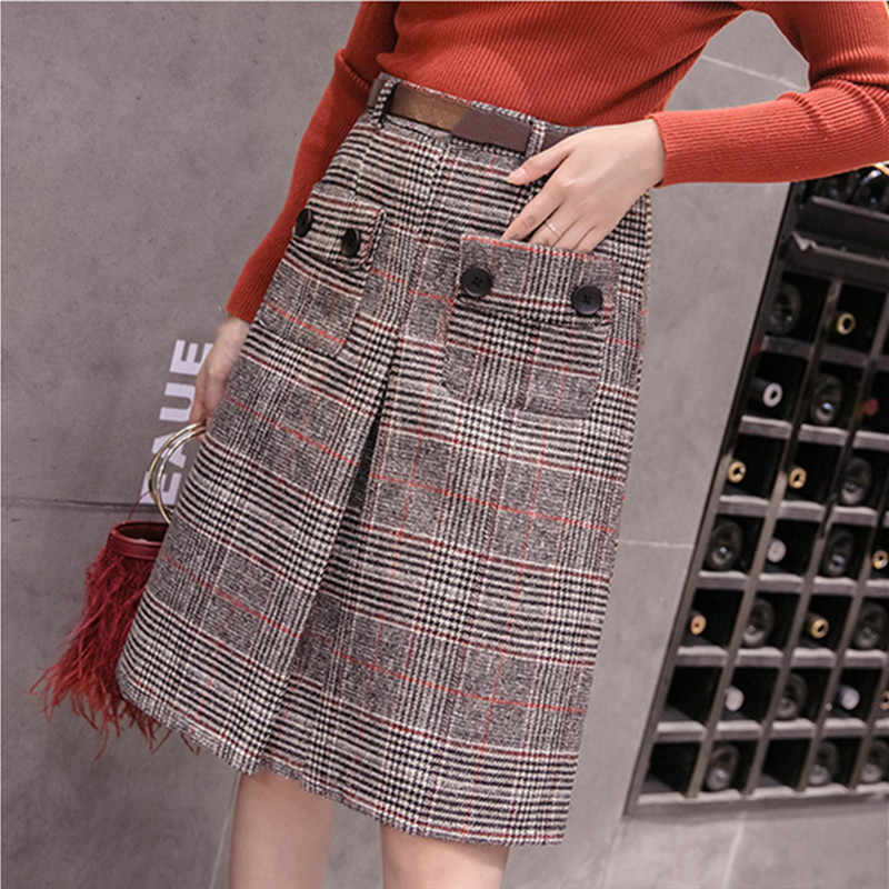 women autumn winter 2019 casual high waist plaid skirt japanese style knee length a-line skirt plus size jupe taille haute FR031