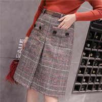 Femmes automne hiver 2019 décontracté taille haute plaid jupe style japonais genou longueur a-ligne jupe grande taille jupe taille haute FR031