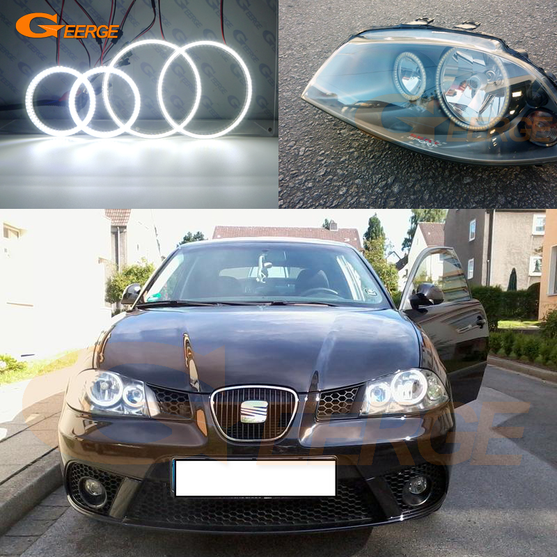 For SEAT IBIZA 6L CORDOBA Facelift 2006 2007 2008 Excellent Smd Led Angel Eyes DRL Halo Rings Ultra Bright Illumination