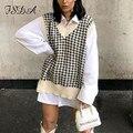 FSDA 2020 Frauen Hahnentritt Weste Pullover Casual V Neck Sleeveless Herbst Winter Jumper Gestrickt Koreanischen Stil Pullover Lose Tops