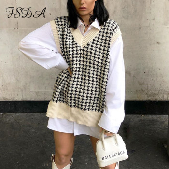 FSDA 2020 Women Houndstooth Vest Sweater Casual V Neck Sleeveless Autumn Winter Jumper Knitted Korean Style Pullover Loose Tops