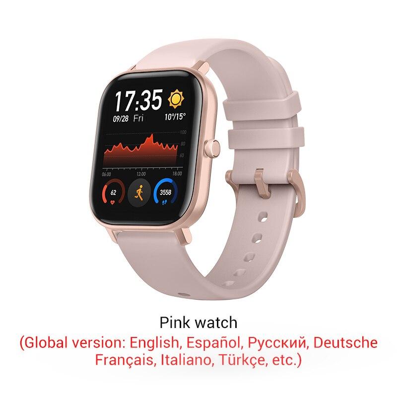 СМАРТ-ЧАСЫ XIAOMI HUAMI AMAZFIT GTS- Выглядит как часы Apple - Цвет: Pink color