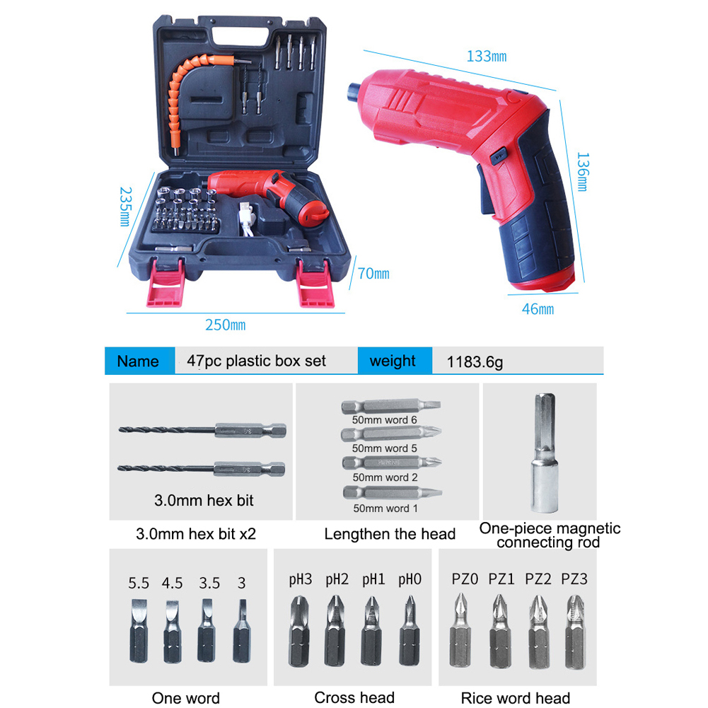47pcs Cordless Electric Drill Mini Electric Screwdriver Rechargeable Lithium Battery Electric Screw Driver Power Tools