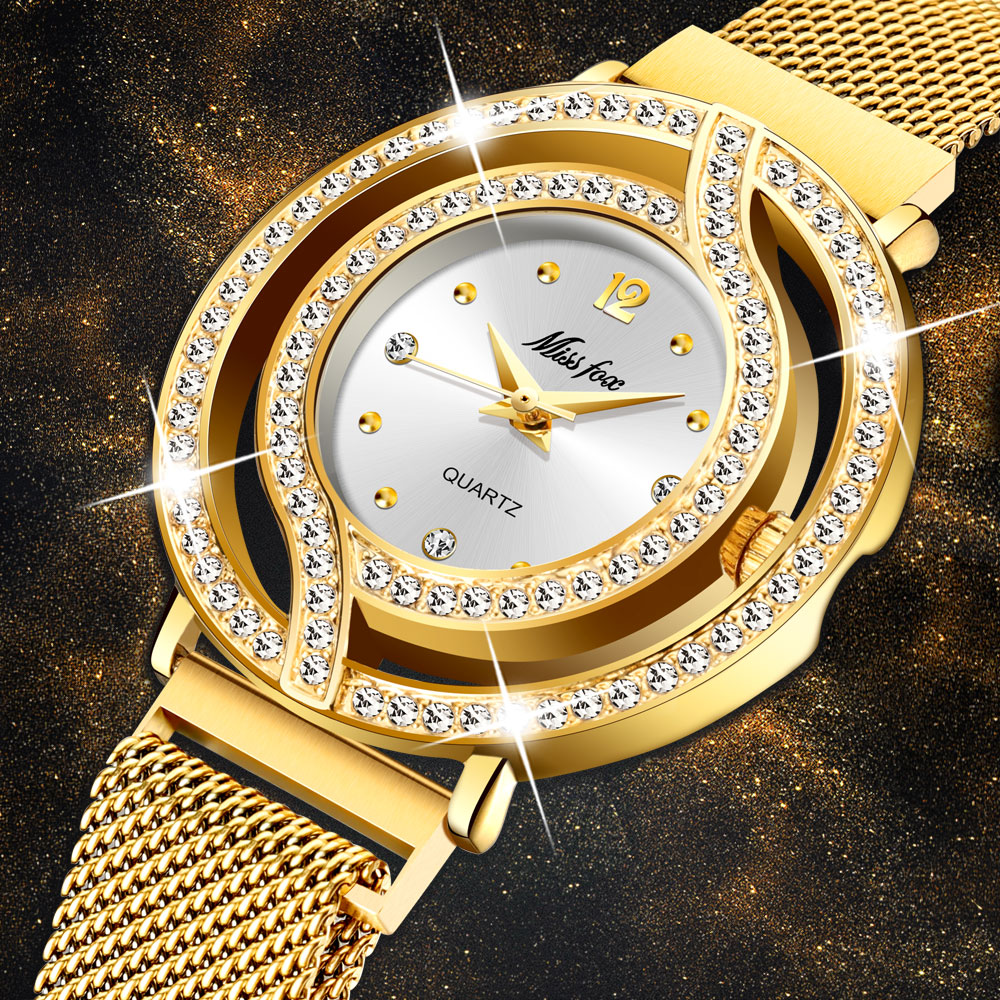 MISSFOX Hollow Watch For Women Milan Mesh Band Full Diamond Watch Ladies Gold Luxury Fashion Rado Wrist Watch Male Clock Hours