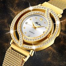 MISSFOX Reloj de pulsera con agujeros para mujer, cronógrafo de malla, con diamantes, dorado, de lujo
