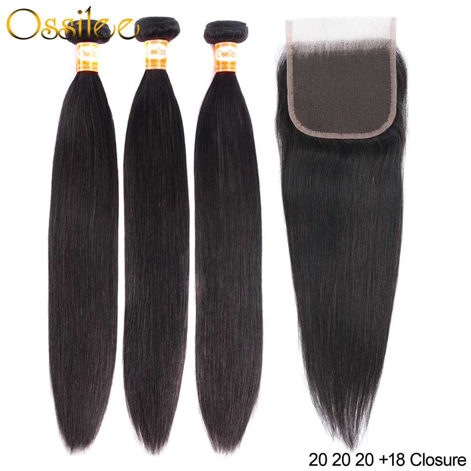 Ossilee Straight Hair Bundles With Closure Human Hair Bundles With Closure Remy Peruvian Hair 3 Bundles With Lace Closure