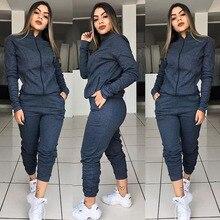 Zoulv Long Sleeve Jacket And Elastic Waist Pants Suit Autumn Fashion Solid Suit For Female Women Sports Tracksuit 2 Piece Set
