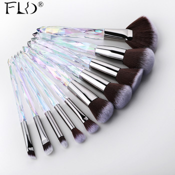 FLD 10Pcs Crystal Makeup Brushes Set Powder
