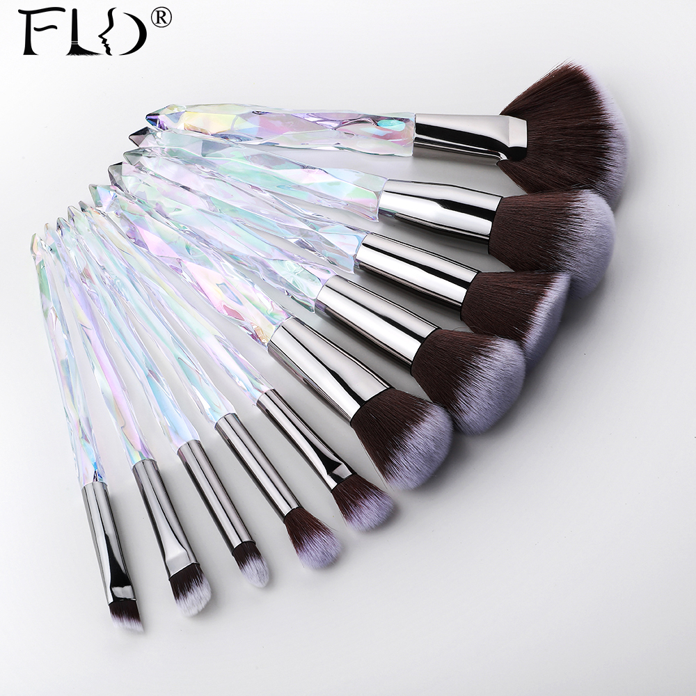 FLD 10Pcs Crystal Makeup Brushes Set Powder Foundation Fan Brush Eye Shadow Eyebrow Professional Blush Makeup Brush Tools
