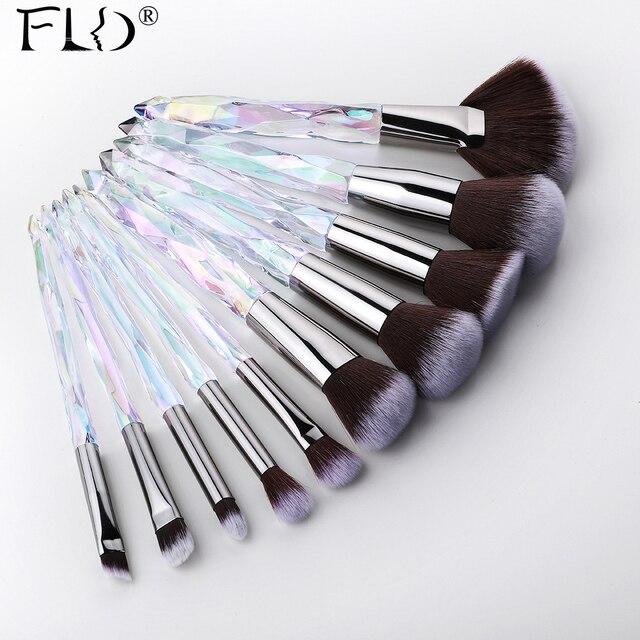 FLD 10Pcs Kristall Make Up Pinsel Set Powder Foundation Fan Pinsel Lidschatten Augenbraue Berufs Blush Make Up Pinsel Werkzeuge