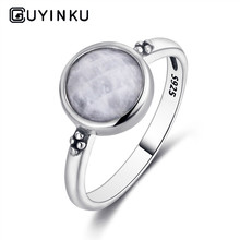 2019 925 Silver Ring Round 8MM Natural Moonstone Retro Gemstone Engagement Wedding Party Gift Wholesale