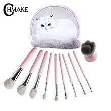CHMAKE 10Pieces pink cute makeup brush set professional make up for foundation eyeshadow powder blusher goat hair