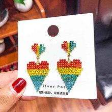 Rainbow Color Crystal Love Heart Earrings for Women Multilayer Crystal Heart Drop Earrings Girls Wedding Party Statement Jewelry artificial crystal floral hollowed heart drop earrings