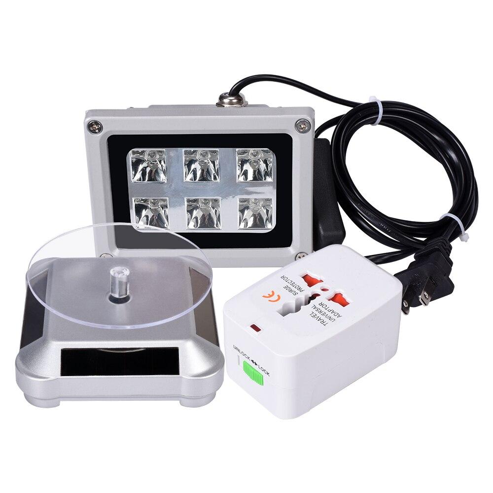 Suporte suporte de energia solar turntable 360 graus rotação display uv led resina cura luz lâmpada peças para dlp/sla impressora 3d