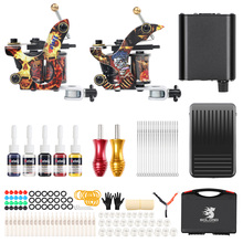 2 Coil Tattoo Machines for Liner and Shader KitS 5 Color Inks Power Supply Professional Tattoos Guns Set for Body Art TK215