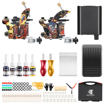 цена на 2 Coil Tattoo Machines for Liner and Shader KitS 5 Color Inks Power Supply Professional Tattoos Guns Set for Body Art TK215