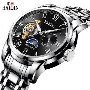 Часы наручные HAIQIN Мужские механические, многофункциональные брендовые автоматические в стиле милитари, с турбийоном, из нержавеющей стали