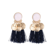 Hot Ethnic Tassel Earrings Dangle Bohemian Earrings for Women Coin Fringe Drop Earrings Stones Vintage Jewelry vintage coin wolf tooth fringe necklace and earrings