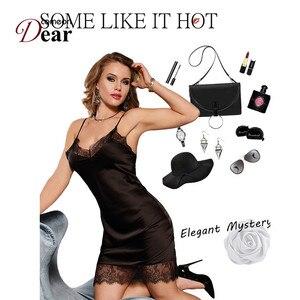 Image 4 - Comeondear Silk Satin Night Dress Lace Nightgown Women lenceria Sexy 5XL Plus Size Sleepwear Breathable Nuisette Femme RB80772