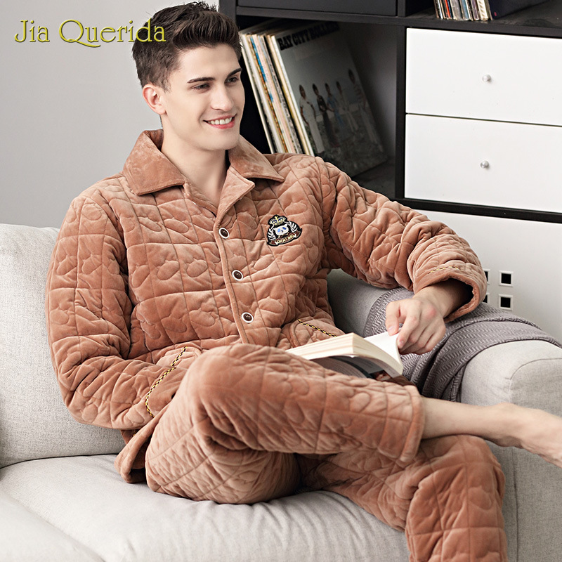 New Men's Pajamas Winter Thick Velvet 3 Layer Padded Winter Warm Big Size Home Wear Long Sleeve Embossing Luxury Pyjamas Men Set