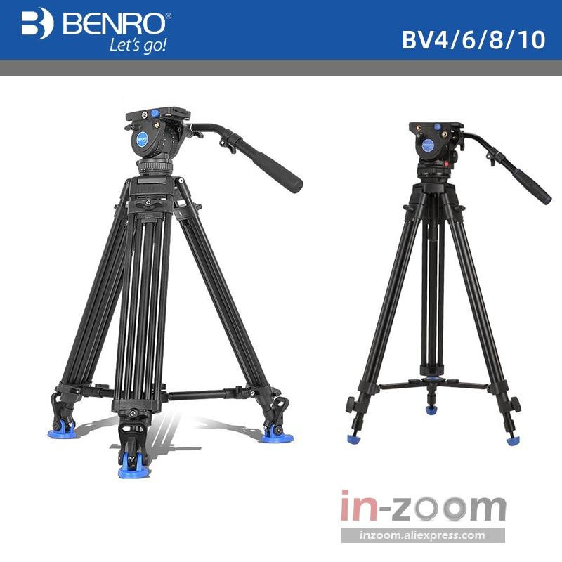 Benro bv6/bv4/bv8/bv10 série tripé de câmera ajustável umedecimento hidráulica fotografia ptz tripé profissional