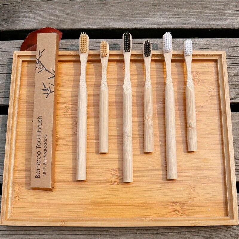 Бамбуковая зубная щетка деревянная здоровая мягкая волоконная деревянная зубная щетка с древесным углем инструмент для чистки полости рта...