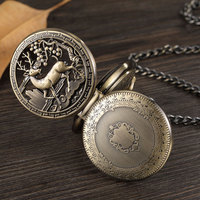 Hollow Cute Deer Skeleton Mechanical Pocket Watch Double Open Cover Fob Waist Chain Pocket Watches Men Steampunk Pendant Gifts