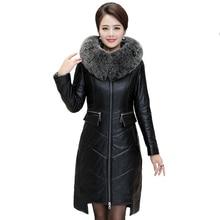 フォックス毛皮の襟フードコート女性プラスサイズ 暖かいロングコート 2019 冬の女性の模造の羊の革ダウンジャケットパーカー