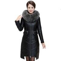 Winter Women Imitation Sheepskin Leather Down Jacket Parkas 2019 Fox Fur Collar Hooded Coat Female Plus Size 7XL Warm Long Coats