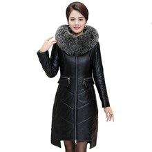 Musim Dingin Wanita Imitasi Kulit Domba Kulit Jaket Parka 2019 Fox Bulu Kerah Hooded Mantel Wanita Plus Ukuran 7XL Hangat Panjang mantel