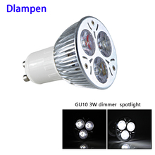 gu10 led 220v Aluminum spotlight dimmer 3W high quality Gu 10 dimming 1W *3 bulb ceiling erengy saving lamp 60 degree lighting