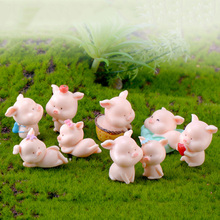 Pig Family Ornaments Small Statue figurine Animal Model Moss micro landscape home decor miniature piggy Fairy garden Decoration