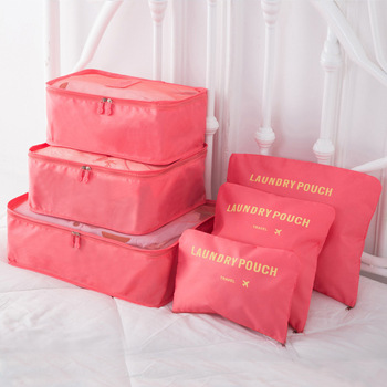 Nylon Packing Cube Travel Bag System Durable 6 Pieces Set Large Capacity of Bags Unisex Clothing Sorting Organize Wholesale - sale item Travel Bags