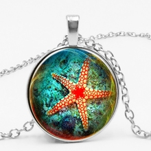 LETS SLIM New Retro Beautiful Alloy Underwater World Red Marking Starfish Time Handmade Pendant Necklace Picture Private Custom marking time