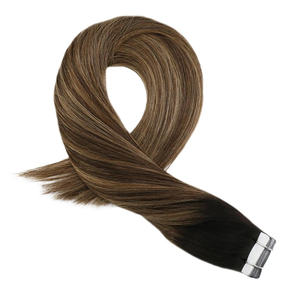 Moresoo Tape In Hair Extensions Color Off Black #1B Fading To Brown #4 With #14 Remy Brazilian Human Hair Skin Weft  2.5g/pcs