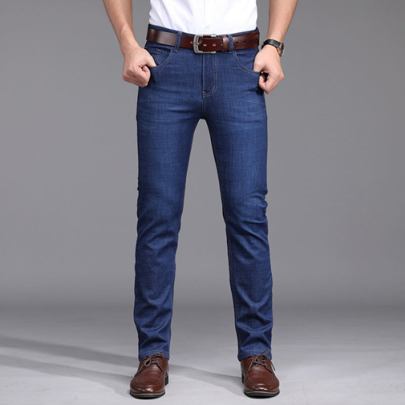 Spring New Style Jeans Men's Straight-Cut Loose-Fit Stretch Pants Men's Summer Business Casual Pants Men's 5301 Blue