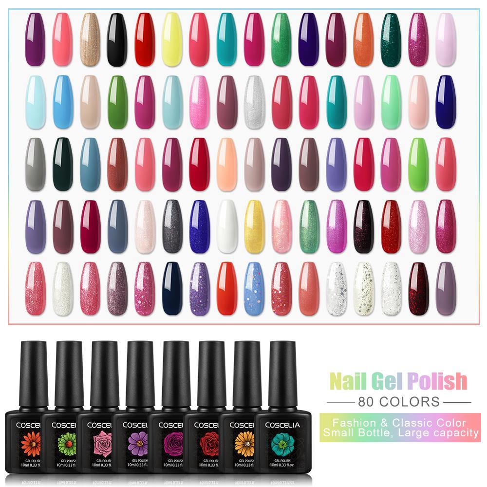COSCELIA 80PCS Set For Gel Varnish 10ML Gel Nail Polish Set For Nail Art Manicure Set Gel Polish Set For Nail All For Manicure