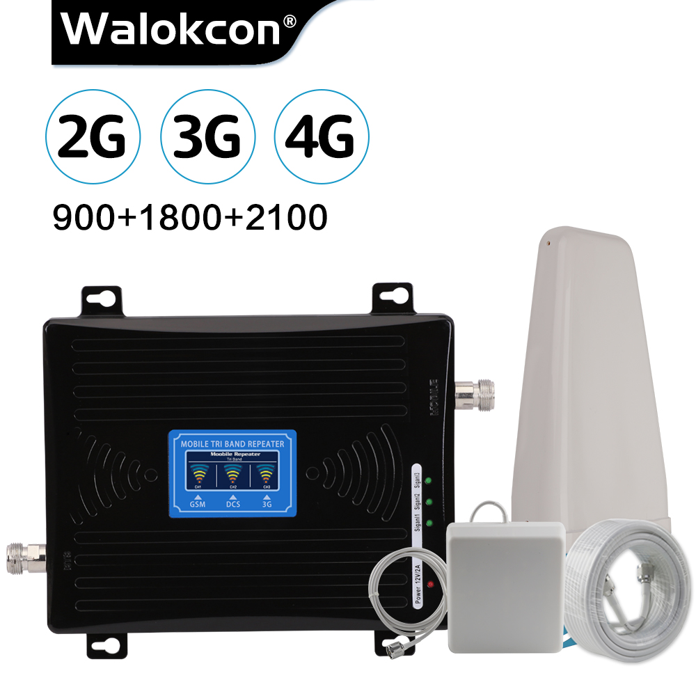 Walokcon Repeater 2g 3g 4g GSM Signal Booster Tri Band 900 DCS LTE 1800 WCDMA 2100 Cell Phone Cellular Amplifier Antenna Cable