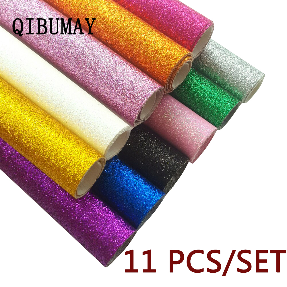 QIBUMAY 11pcs Faux Leather Fabric Glitter Sheet Sequin DIY Hairbow Decoration Handmade Bags Material Synthetic