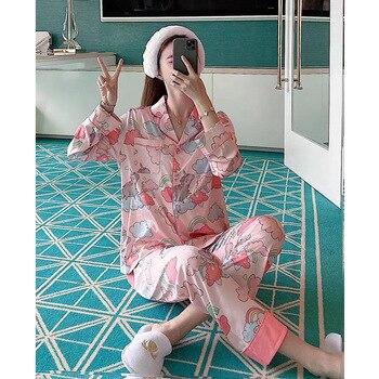 QWEEK 2020 Pajamas for Women Summer Long Sleeve Pyjamas Women Silk Home Clothes Loungewear Pijama Feminino Loungewear Pj Set фото