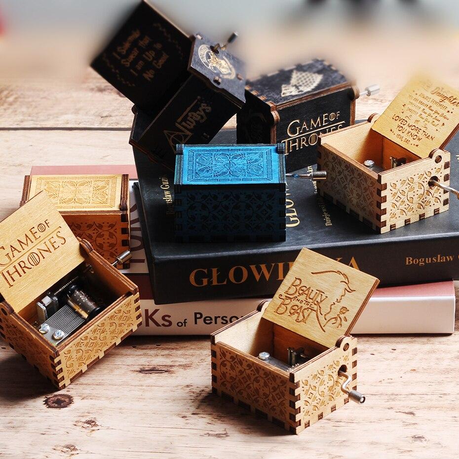 Антикварная резная деревянная музыкальная шкатулка с рукояткой для королевы, Игра престолов, Жемчуг дракона, для моей Goigeous жены, музыкальная шкатулка, Рождественский подарок