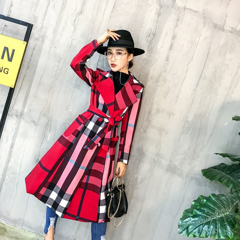 Women's 2019 New Autumn   Trench   Fashion Slim Plaid Elegant Soft Long Sleeve Medium-Length Female Windbreak Coats Lady D190811