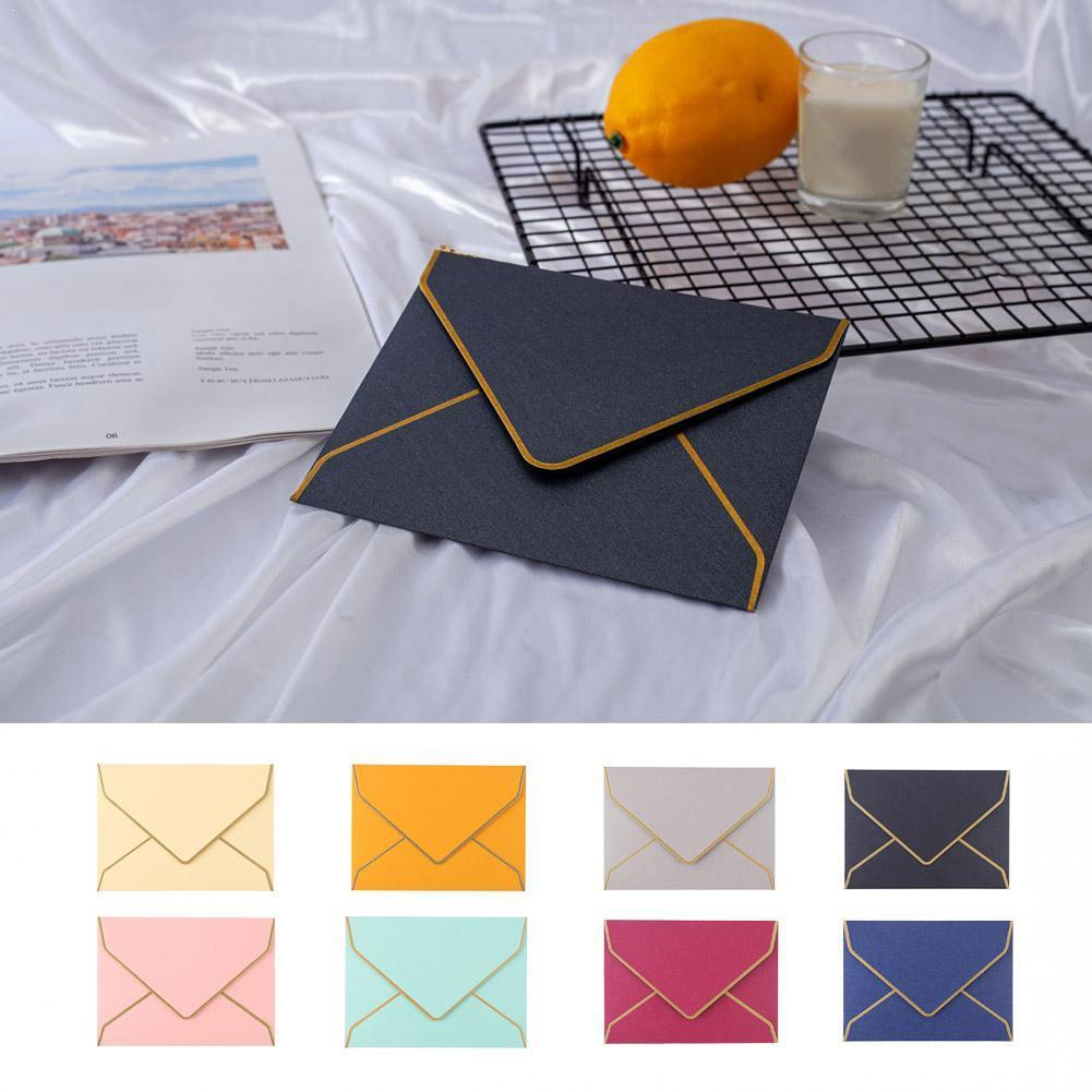 1pcs Vintage Retro Color Paper Blank Envelope Wedding Gift Greeting Card Invitation Envelope Stamped Party Gold S6H1