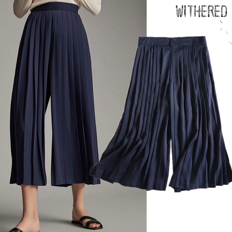 Withered england style office lady simple navy pleated   wide     leg     pants   women pantalones mujer pantalon femme loose trousers women