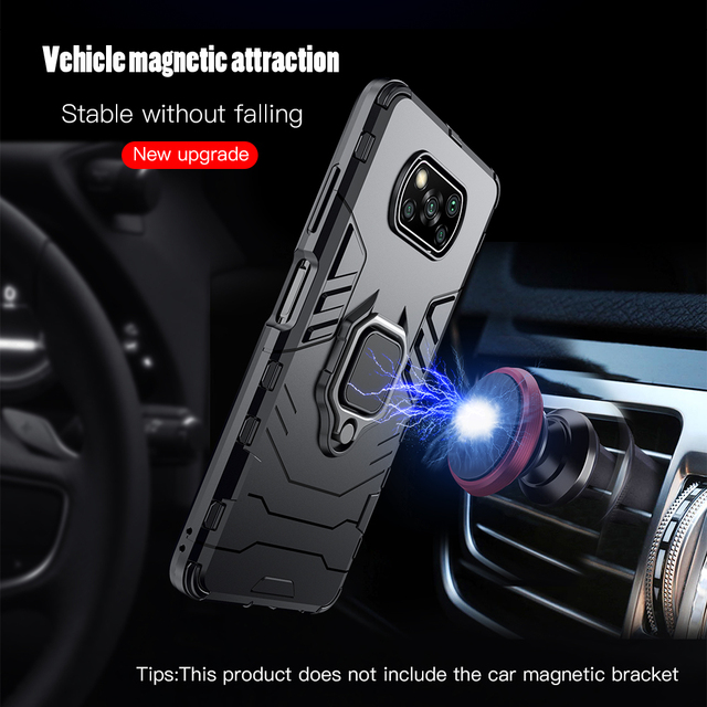 KEYSION Shockproof Case for Xiaomi POCO X3 GT NFC M3 Pro 5G F2 Ring Stand Phone Back Cover for Xiaomi Pocophone X3 Pro X2 F3 F1 2