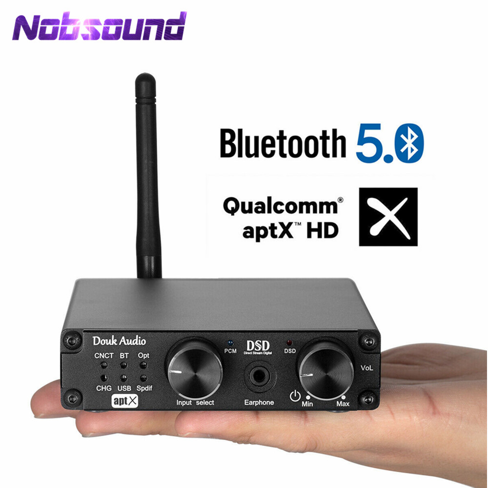 Mini Bluetooth 5.0 USB  XMOS DAC DSD256 PCM384K Decoder Headphone Amplifier Receiver APTX DSD