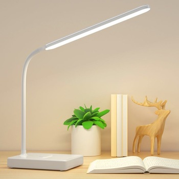 LED Stand Desk Lamp Modern Office Reading Table Light Touch Switch Bending USB Plug in Work Dimmer Led Table Lamps for Bedroom long swing arm adjustable classic desk lamps e27 led with switch table lamp for office reading night light bedside home